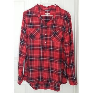 Red Plaid Collared Flannel Top Shirt Large